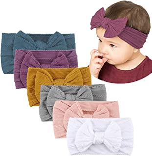 Baby Girls Headband, AMERTEER 6PCS Stretchy Nylon Soft Headband with Bowknot Cute Princess hairband Hair Accessories for B...