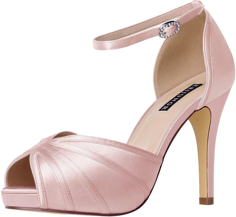ERIJUNOR Woherrar hög klack Sandals Ankle Strap Strap Strap Satin Evening Party Prom bröllop skor  på billigt