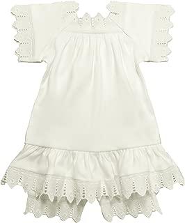 Victorian Organics 女婴无袖连衣裙和花朵图案有机棉和蕾丝婴儿 2 件套