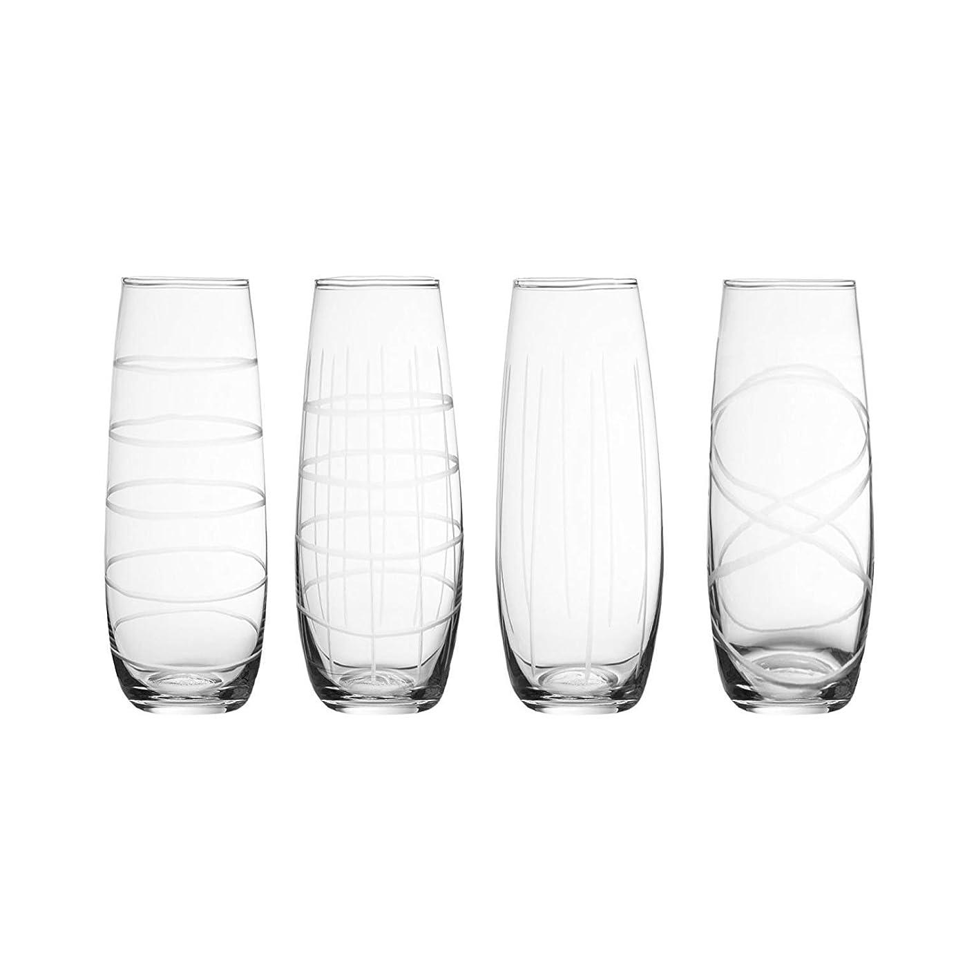 債務者お肉良心Metro ガラスステムレスフルート 4個セット 水/ワイン/ジュース/シャンパンなどに