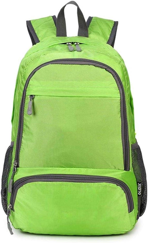 Outdoor Men and Women Mountaineering Bag Travel Backpack Foldable Skin Bag Backpack Water Repellent Shoulder Bag 33x15x44CM ZXMDMZ (color   Green)