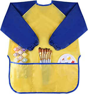KUUQA Childrens Kids Toddler Waterproof Play Apron Art Smock with 3 Roomy Pockets - Painting, Baking, Feeding Smock (Paints and Brushes not Included)