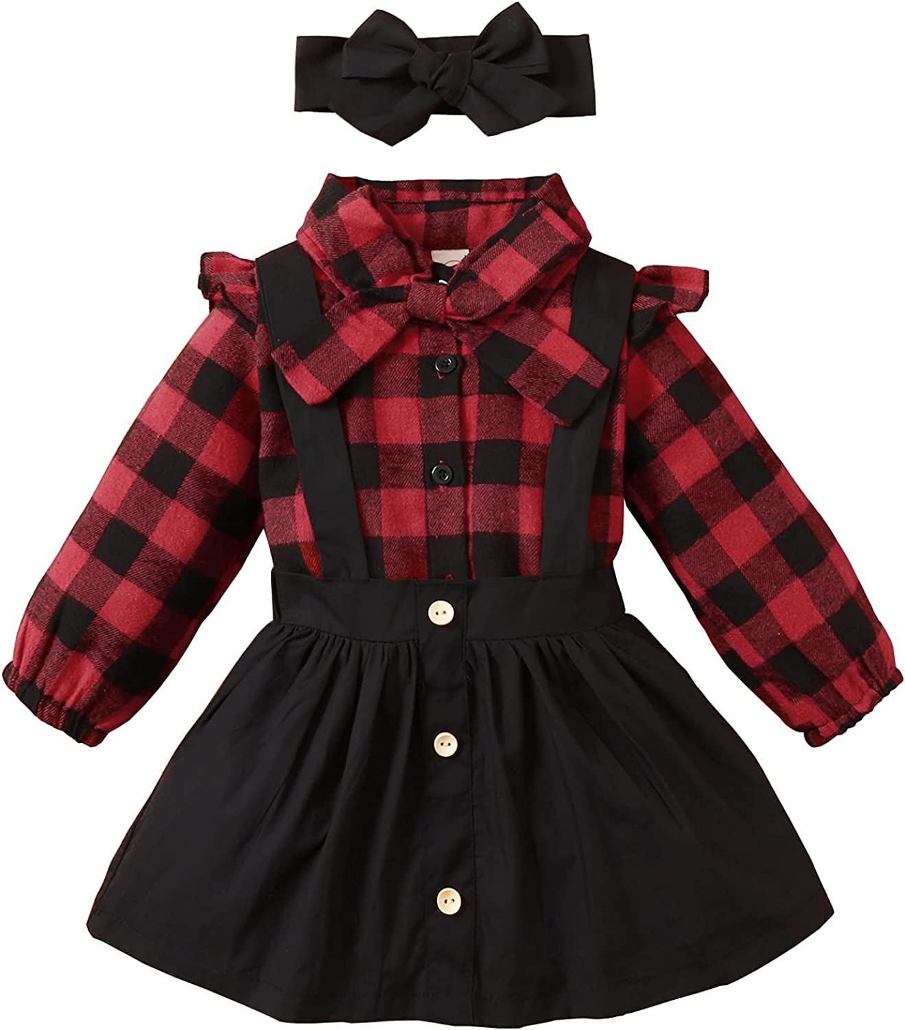 Toddler Baby Girl Outfit Ruffles Bowknot Shirt+Red Plaid Suspender Skirt With Headbands 3Pcs Clothes Set