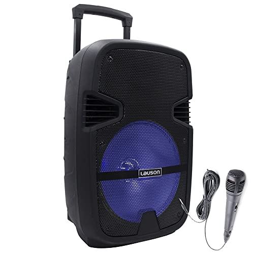 Lauson Enceinte Sono Portable, Bluetooth, Lumières Multicolores, Fonction Karaoké, MP3 À Partir D'Une Carte USB / SD, Microphone Inclus, Chariot De Transport Facile, Noir (Trolley)