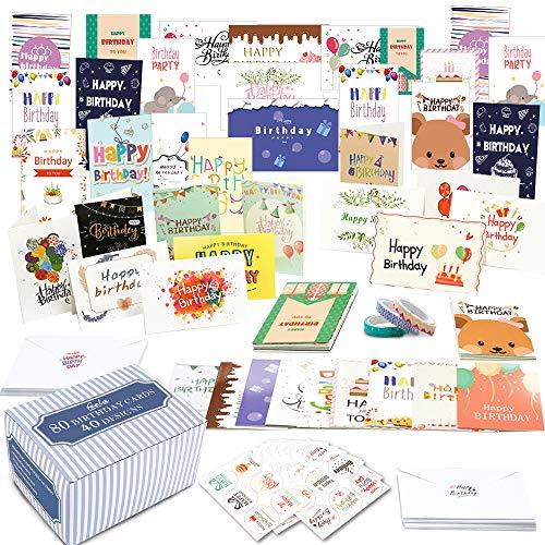 Feela 誕生日カード ハッピーバースデーカード 80枚 かわいい柄 封筒 封筒ステッカー マスキングテープ付き メッセージカード お祝い ギフトカード 祝賀カード 家庭 学校 会社 誕生日パーティー プレゼント
