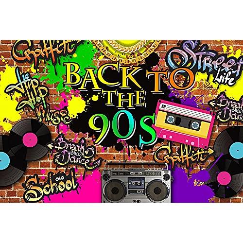 Fondo de fotografía de Fiesta de los años 80 y 90 Tema de Discoteca Hip Hop Estilo Retro Fondo fotográfico Accesorios de fotografía de neón A1 7x5ft / 2,1x1,5 m