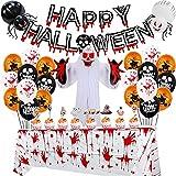 Halloween-Ballon-Set, Halloween-Party-Dekoration, Totenkopf-Flagge, Spiralornament, Banner, Halloween-Kürbis, Aluminium-Folienballon für Halloween, Innen- & Außenbereich