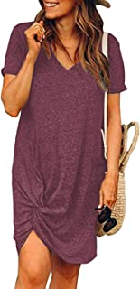 MIHOLL Women's Casual Dresses Short Sleeve V Neck Twist Knot Summer T Shirt Dress