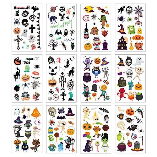 KATOOM 12STK Halloween Tattoos Kinder Klebetattoos Spinnennetz Kindertatoo Fledermaus Skelett Spinne Aufkleber Sticker Horror Gesichtstattoo Partyspiele für Jungen Mädchen Masquerade Karneval Fasching
