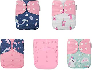 Kawaii Baby One Size Reusable Girl Pack of 5 One Size Cloth Diapers + 10 Super Absorbent Stay-Dry Inserts Newborn to Toddl...