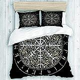 Juego de cama infantil de Brújula vikinga, 135 x 200 cm, algodón, microfibra, 3D, con cremallera, 2 fundas de almohada de 80 x 80 cm, para niños y niñas