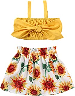 JBEELATE Toddler Baby Girls Gifts Outfits Set Straps Crop Top Floral Mini Skirts Summer Clothes 2 Pieces