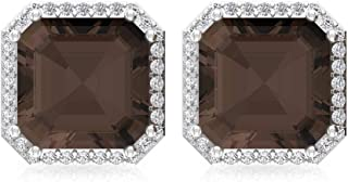 4.2Ct Asscher Shape Smoky Quartz Earring, Bridesmaid Statement Earring, IGI Certified Diamond Wedding Stud Earring, IJ-SI Diamond Vintage Earring, Screw Back