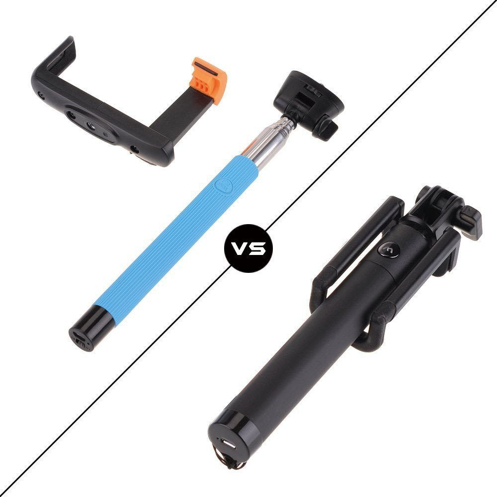 Rixow S1 Foldable Extendable Durable Self Portrait Mini Handheld Selfie Stick Bluetooth Monopod Audio Cable Take Pole with Rear view mirror Adjustable Phone Holder Stand for iPhone 5/5s 5C iPhone 6/6 Plus Samsung Note 2 3 4 Blackberry Camera for IOS Android Smartphone (Blue)
