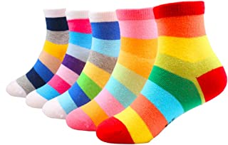 Little Kids Boys Girls Rainbow Multi-colors Crew Socks