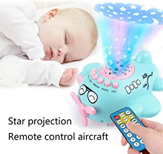 CapsA Modern Star Rotating Sky Projection Star Projector Lamp for Kids Best Gifts for Kids,Bedroom Small Aircraft Music Toy Starry Sky Projection Story Machine Early Childhood Education (Blue)