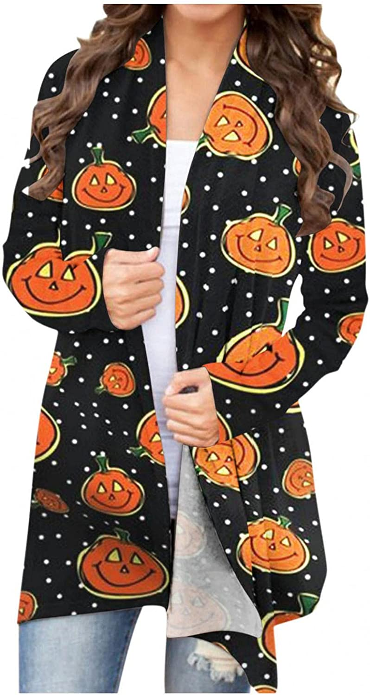 felwors Halloween Cardigan for Women, Funny Cute Pumpkin Ghost Printed Long Sleeve Tops Open Front Blouse Outwear Coat