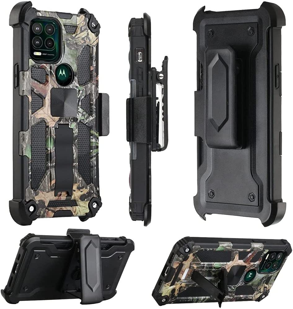 AmeriCase for Moto G Stylus 5G 2021 - Phone Case w/Belt Clip Holster for Moto G Stylus 5G 2021 (Camo Jungle)