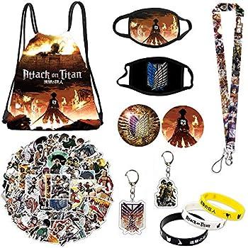 Attack on Titan Set Gift Set - Including Drawstring Bag Backpack Attack on Titan Stickers Attack on Titan M-asks Lanyard Keychains Bracelets Button Pins
