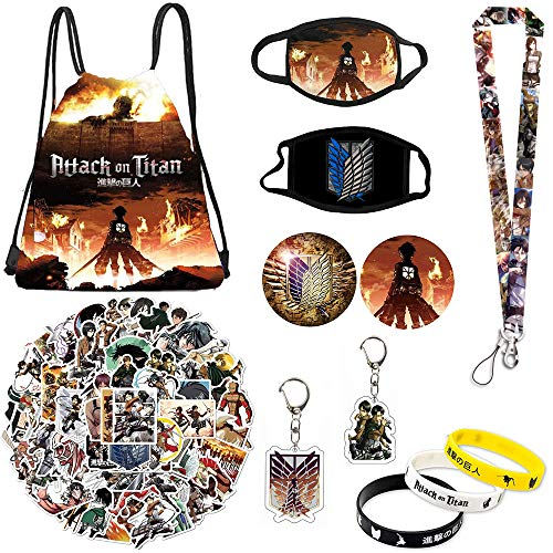 Attack on Titan Set Gift Set - Including Drawstring Bag Backpack, Attack on Titan Stickers, Attack on Titan M-asks, Lanyard, Keychains, Bracelets, Button Pins