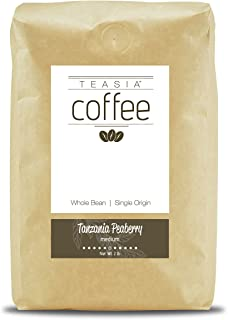 Teasia Coffee, Tanzania Peaberry, Single Origin, Medium Roast, Whole Bean, 2-Pound Bag
