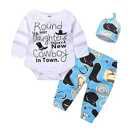 b25d32708 Mikrdoo Newborn Baby Boy Clothes Set Long Sleeve Romper Tops + Pants  Leggings + Hat 3Pcs