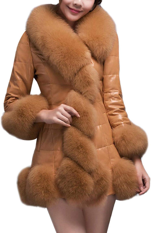 1PC Coat Women Winter Coat Faux Fur Coat Elegant Warm Long Sleeve Splice Long Fake Fur Down Jacket,BW,XL