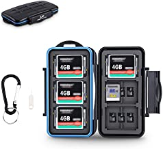 JJC SD Micro SD CF TF Memory Card Case Holder Storage 6 CF & 12 SD & 18 Micro SD Card,Water-Resistant and Shockproof