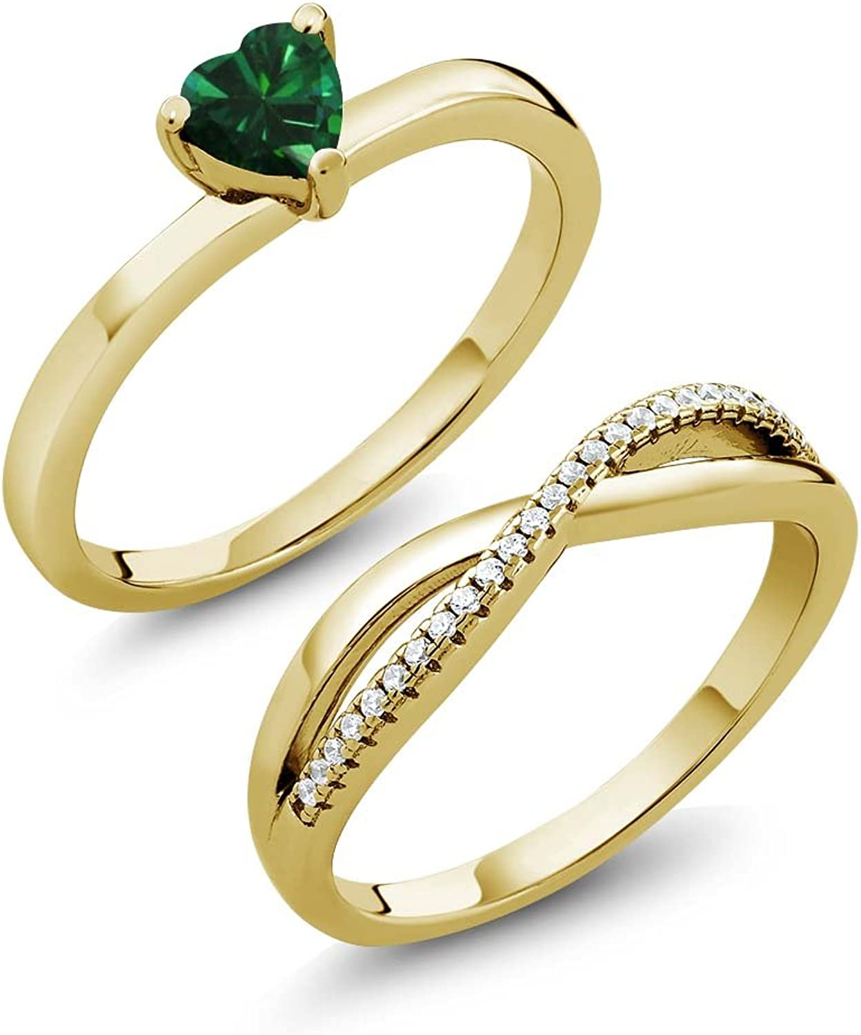 0.65 Ct Simulated Emerald 18K Yellow gold Plated Silver Engagement Ring Set