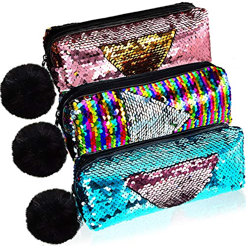 3 Pieces Sequin Cosmetic Bag Mermaid Spiral Reversible Sequin Student Pencil Case for Girls Double Color Zipper Make Up Bag (Classic Pattern)