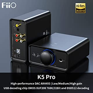FiiO K5 Pro AK4493EQ | 768K/32Bit and Native DSD 512 decoding Deskstop DAC and Amplifier for Home and Computer(6.35mm (1/4 in.) Headphone Out/RCA line-Out)
