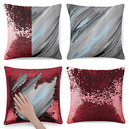 Tamengi Sequin Pillow Cover, Blue Gray Abstract, Zipper Pillowslip Pillowcase, Decorations for Sofas, Armchairs, Beds, Floors, Cars