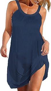 BLUETIME Women's Summer Halter Sleeveless Pleated Beach Short Mini Dresses Cover Ups