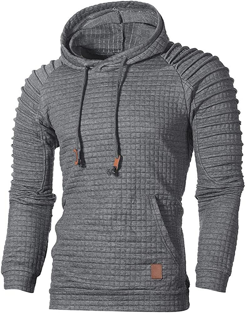 Hoodies for Men Pullover Casual Solid Color Men's Athletic Sweatshirt Long Sleeve Drawstring Plaid Pullover Hoodie Tops
