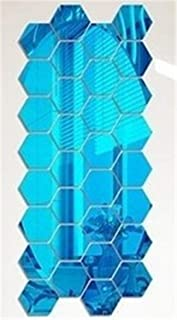 12Pcs 3D Hexagon Acrylic Mirror Wall Stickers DIY Art Wall Decor Stickers Home Decor Living Room Mirrored Decorative Sticker Blue 46x40x23mm
