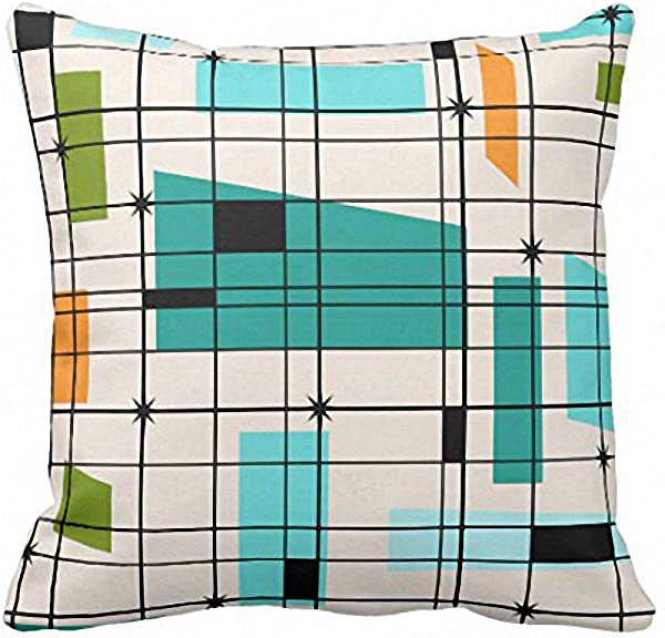 Emvency Throw Pillow Cover Teal Mid Retro Grid And Orange Century Decorative Pillow Case Home Decor Square 16 X 16 Inch Pillowcase