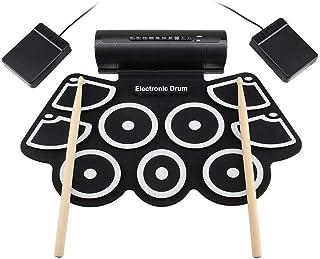 ポータブルプロフェッショ折りたたみ電子ドラム USB MIDIロールアップ電子ドラムセット練習ドラムキットサポート9シリコンパッド付きDTXゲームヘッドフォンジャック内蔵スピーカーサスティンペダルドラムスティック録音再生機能ギフト子供のための ドラムサウンドはあなたに自然で強力なサウンドを与えます。 標準的なドラム設定とワイドペダル