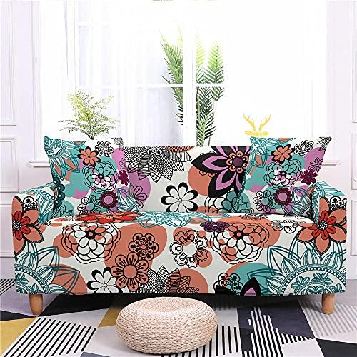 Funda Sofas 2 y 3 Plazas Flores Fundas para Sofa ,Cubre Sofa Ajustables,Fundas Sofa Elasticas,Funda de Sofa Chaise Longue,Protector Cubierta para Sofá