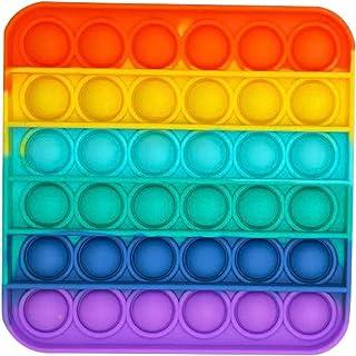 1PC/2PC/3PC Rainbow-Color Push pop Bubble Fidget Sensory Toy Fidget Toy Autism Special Needs Stress Reliever for Home Scho...