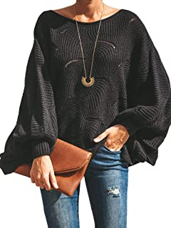 Womens Off Shoulder Sweaters Batwing Sleeve Loose Overiszed Hollow Knit Pullover Jumper Tops