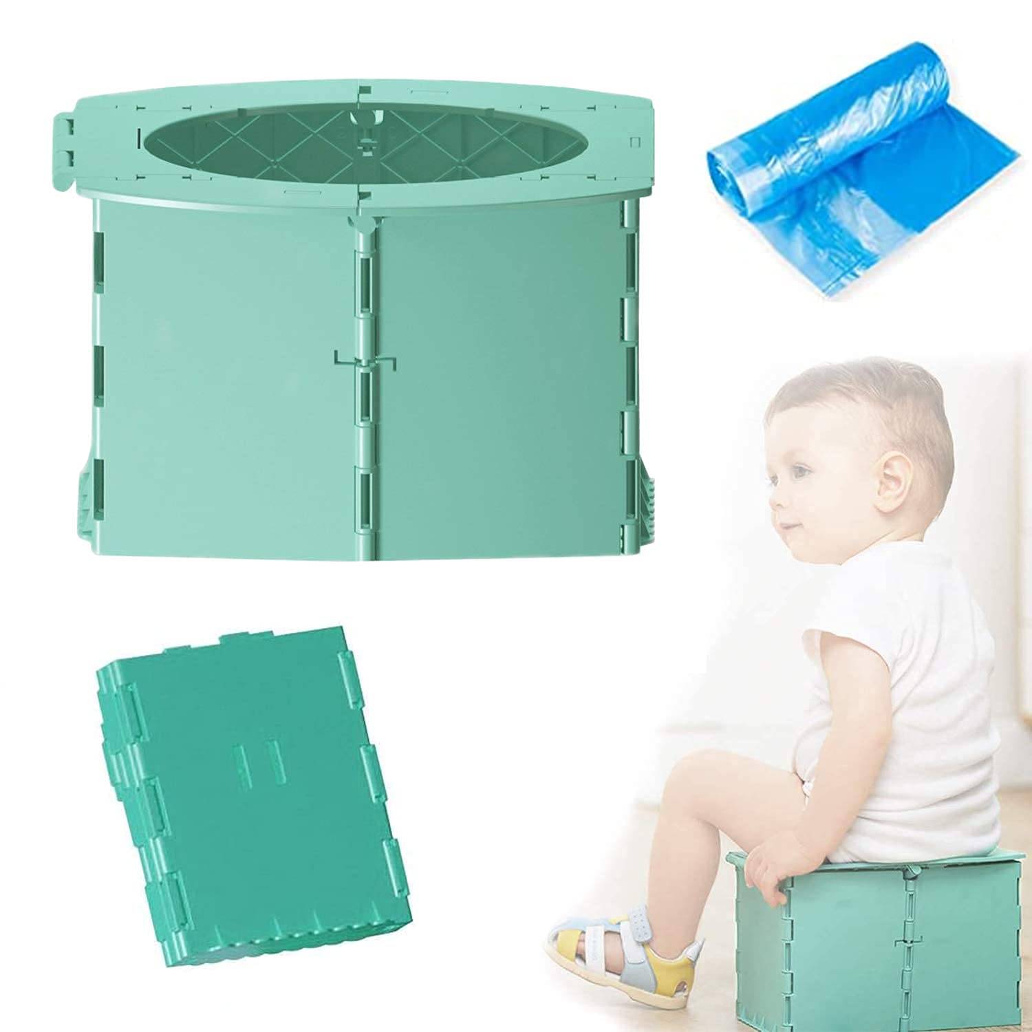 Travel Potty for Kids Foldable Toilet Seat Toddler Potty Seat for Baby Potty Training Kids Travel Potty Reusable Folding Potty for Toddler with 1roll Potty Bags for Car Travel Outdoor Camping(Green)