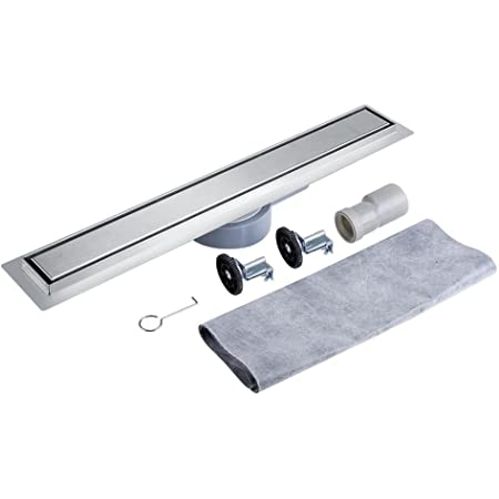 desague ducha 360 Grados Giratorio Acero Inoxidable Lineal Drenaje de La Ducha para Suelo de Baldosas Desagüe de Piso para Cuarto de Baño y Cocina (60cm)