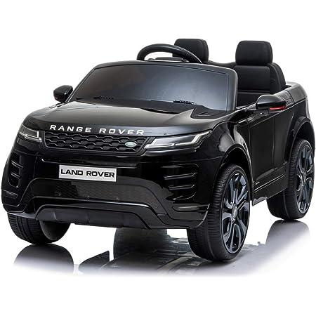Mondial Toys Auto Macchina ELETTRICA per Bambini 12V Range Rover EVOQUE con Sedile in Pelle Cintura di Sicurezza A 5 Punti Telecomando Nero