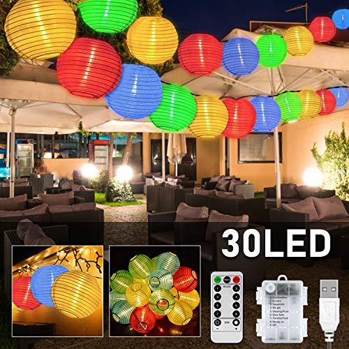 Lichterkette Außen Batterie-Betrieben und usb, Plaights Lampion Lichterkette mit 30 LED's in bunt für Garten, Terrasse, Balkon, Party und Feiern