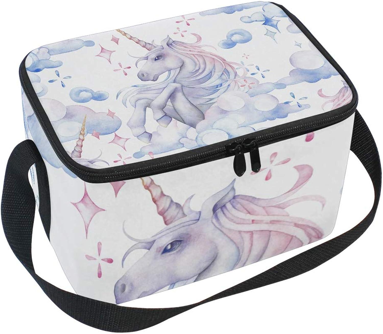 Lunchtasche WaterFarbe Einhorn Pferd in the Sky Sky Sky Kühler für Picknick Schultergurt Lunchbox B07GH67LTY  Klassischer Stil 6156bf