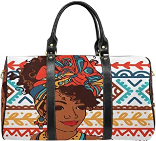 InterestPrint Waterproof Travel Bag Sports Duffel Tote Overnight Bag Beautiful African American Woman on Beautiful