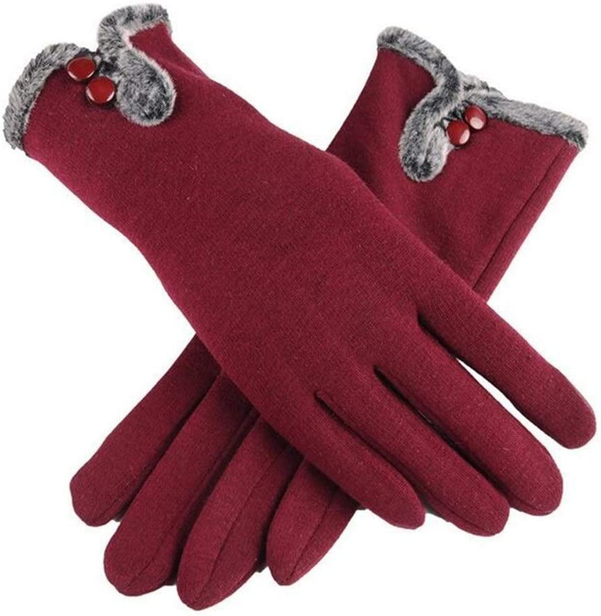 HABADOG Female Autumn Winter Cashmere Full Finger Warm Lace Gloves Women Cotton Touch Screen Gloves (Color : B Blue)