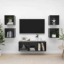 Hoogglans grijs Spaanplaat Furniture5 Stuk TV Kabinet Set Hoogglans Grijze Spaanplaat