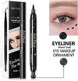 1 Pcs Eyeliner Stamp,Double-Headed Seal Black Eyeliner Heart Seal Eyeliner 2-in-1 Waterproof Smudgeproof Long Lasting Eyeliner Pen