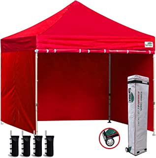 Eurmax 10'x10' Ez Pop-up Canopy Tent Commercial Instant Canopies with 4 Removable Zipper End Side Walls and Roller Bag, Bonus 4 SandBags(Red)